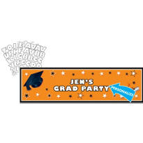 Orange Personalized Graduation Banner 65in