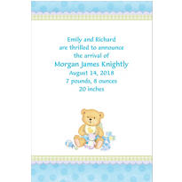 Precious Bear Blue Custom Birth Announcements