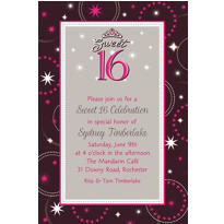 Sparkle Sweet 16 Custom Invitation