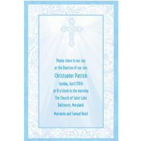 Custom Radiant Cross Blue Religious Invitation