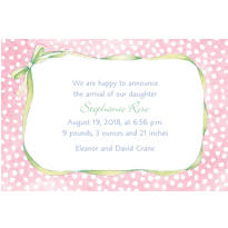 Pink Polka Dots with Bow Custom Birth Announcements