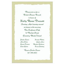 Sage Deckle Edge/White Custom Invitation