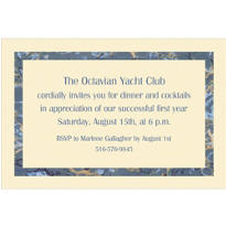 Blue Marble Border/Ecru Custom Invitation