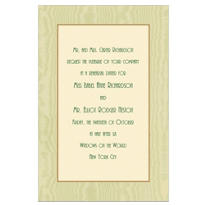 Sage Moire and Ecru Custom Invitation