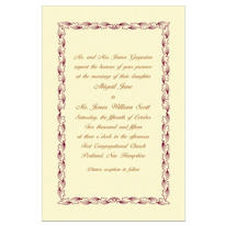 Maroon Leaf Scroll/Ecru Custom Invitation