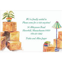 Moving Boxes and Lamp Custom Housewarming Invitation