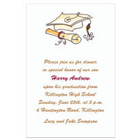 Fun Cap & Diploma White Custom Invitation