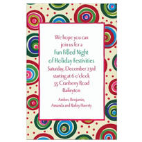 Holiday Circles Custom Christmas Invitation