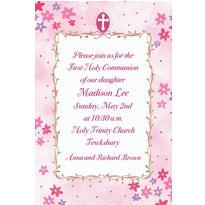 Cross with Pink Buds Custom Invitation