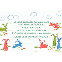 Frolicking Bunny Rabbits Custom Birth Announcements