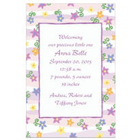 Purple & Pink Stripe Custom Birth Announcements