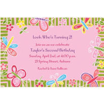 Butterflies & Flowers Custom Invitation