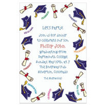 Blue Tossed Grad Caps Custom Graduation Invitation
