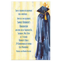 Custom Blue Gown Graduation Invitations
