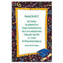 Fun Grad Party Border Custom Graduation Invitation