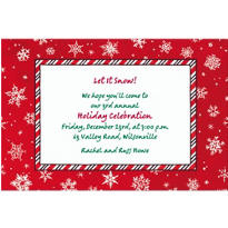 Red & White Snowflakes Custom Christmas Invitation