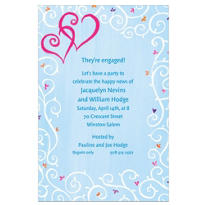 Hearts with Vines & Buds Custom Wedding Invitation