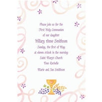 Pretty Chalice & Flowers Custom Invitation