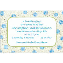 Baby Buttons Blue Custom Birth Announcements