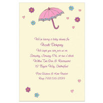 Umbrella with Hearts & Daisies Custom Baby Shower Invitation