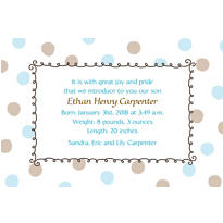 Blue Dots Border Custom Birth Announcements