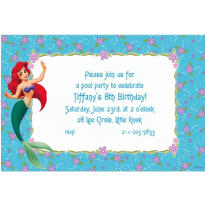 Ariel on Purple & Aqua Floral Custom Invitation