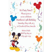 Mickey Mouse Party Custom Invitation
