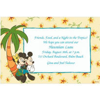 Hawaiian Mickey and Minnie Mouse Custom Invitation