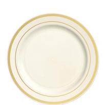 Cream Gold Trimmed Premium Plastic Dessert Plates 20ct