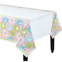 Pink Sweet Religious Plastic Table Cover 54in x 102in