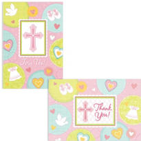 Pink Sweet Religious Invitations and Thank You Notes Set 16ct