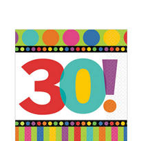 Dots & Stripes 30th Birthday Lunch Napkins 16ct