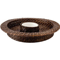 Brown Bamboo Chip Dip Tray 15in