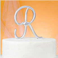Monogram R Wedding Cake Topper
