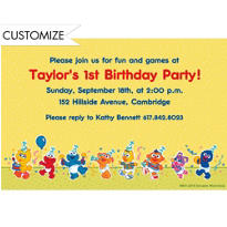 Sesame Street 1st Birthday Custom Invitation