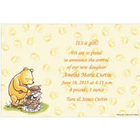 Pooh and Piglet Tub Scene Custom Birth Announcements