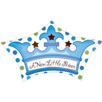 Foil Little Prince Crown Baby Shower Balloon 19in