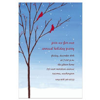 Birds in Snowy Branch Custom Invitation