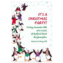 Partying Penguins Custom Christmas Invitation