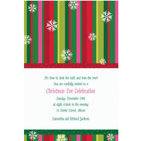 Cool Holiday Stripe Custom Christmas Invitation