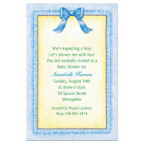 Blue Baby Frills Custom Baby Shower Invitation