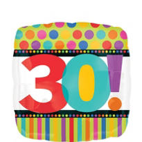 30th Birthday Dots & Stripes Foil Balloon 18in