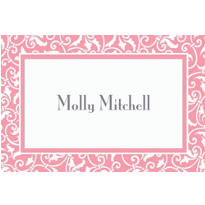Pink Ornamental Scroll Custom Thank You Note