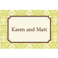 Classic Damask Border Lime Custom Thank You Note