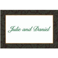 Green Antique Damask Border Custom Thank You Note