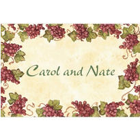 Vintage Grapes Border Custom Thank You Note