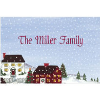 Holiday Village Scene Custom Christmas Thank You Note