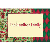 Christmas Paisley Border Custom Thank You Note