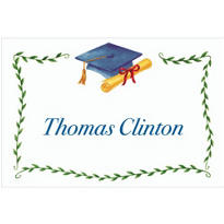 Custom Blue Mortarboard & Ivy Graduation Thank You Notes