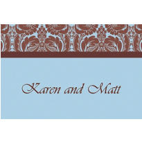 Blue Damask Custom Thank You Notes